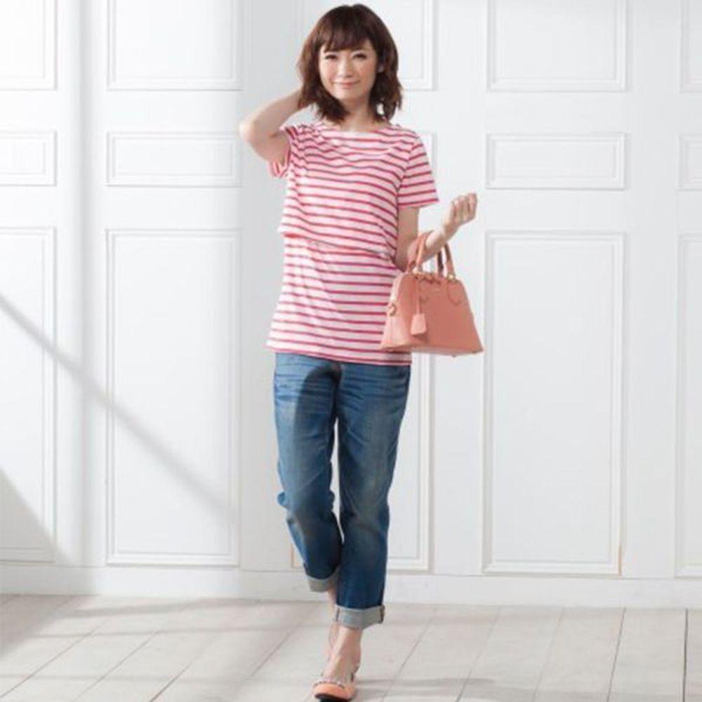 日本 Nissen - 人氣款船領條紋哺乳T恤-紅白條紋 (M)