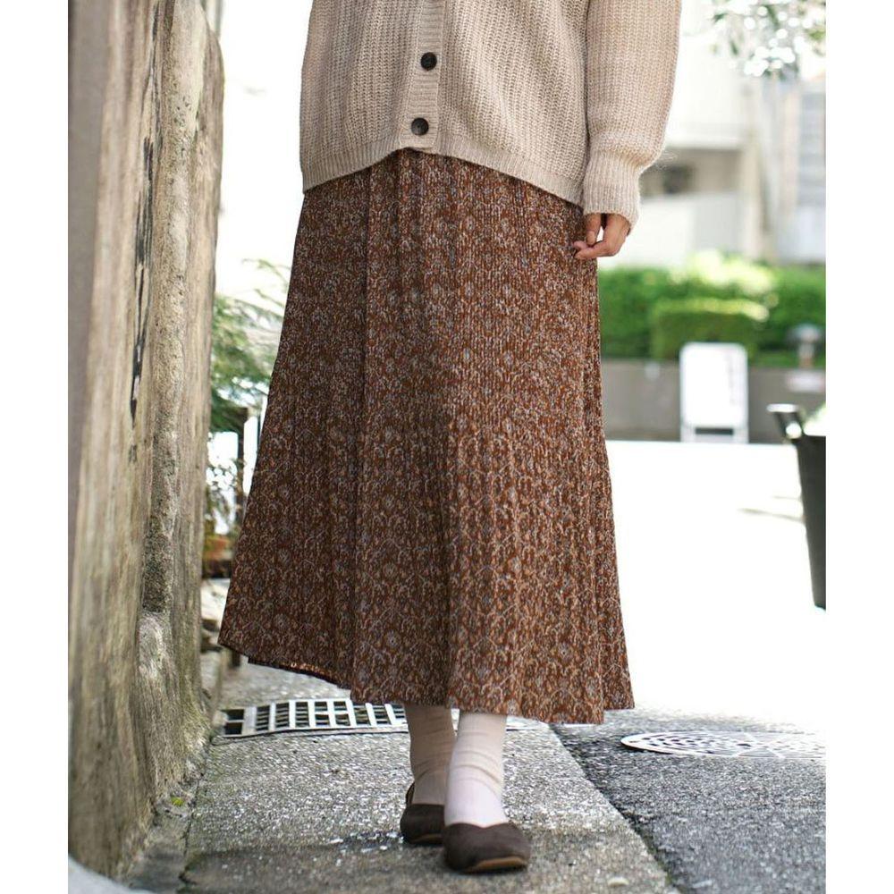日本 zootie - 內裏保暖碎花細百褶長裙-咖啡