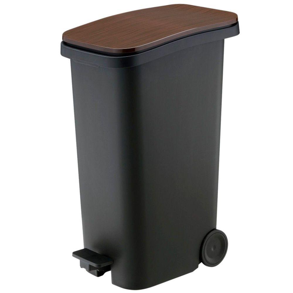 日本RISH - Smooth|踩踏式緩衝靜音垃圾桶-木紋色-31L
