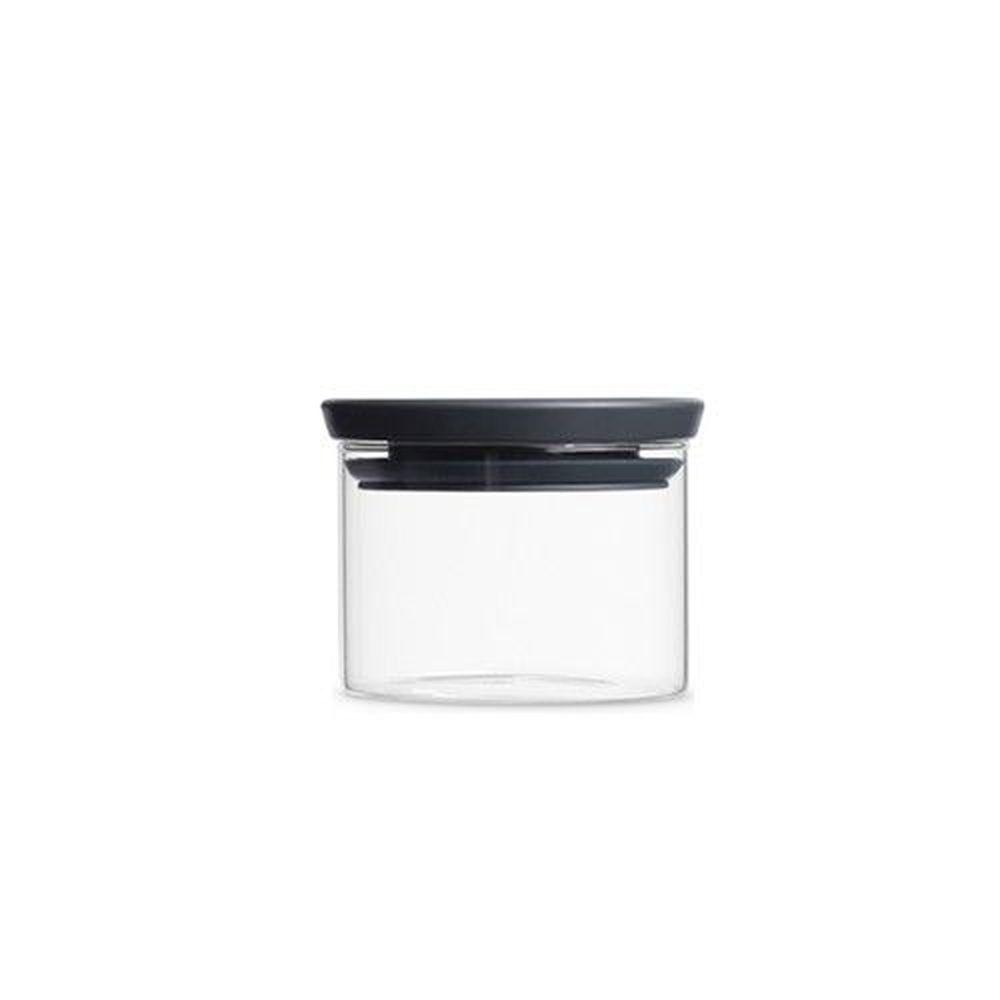 荷蘭 Brabantia - 玻璃食物黑蓋儲存罐-經典黑 (0.3L)