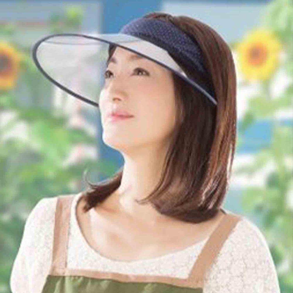 日本 SUN FAMILY - 13cm帽簷可捲式收納抗UV中空遮陽帽-深藍點點 (頭圍54-60cm)