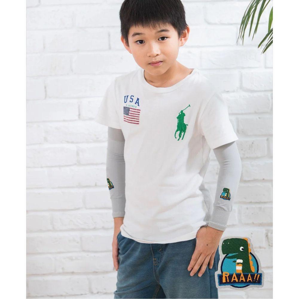 貝柔 Peilou - UPF50+兒童高效涼感防蚊抗UV袖套-(貼布繡)-恐龍-灰 (F)