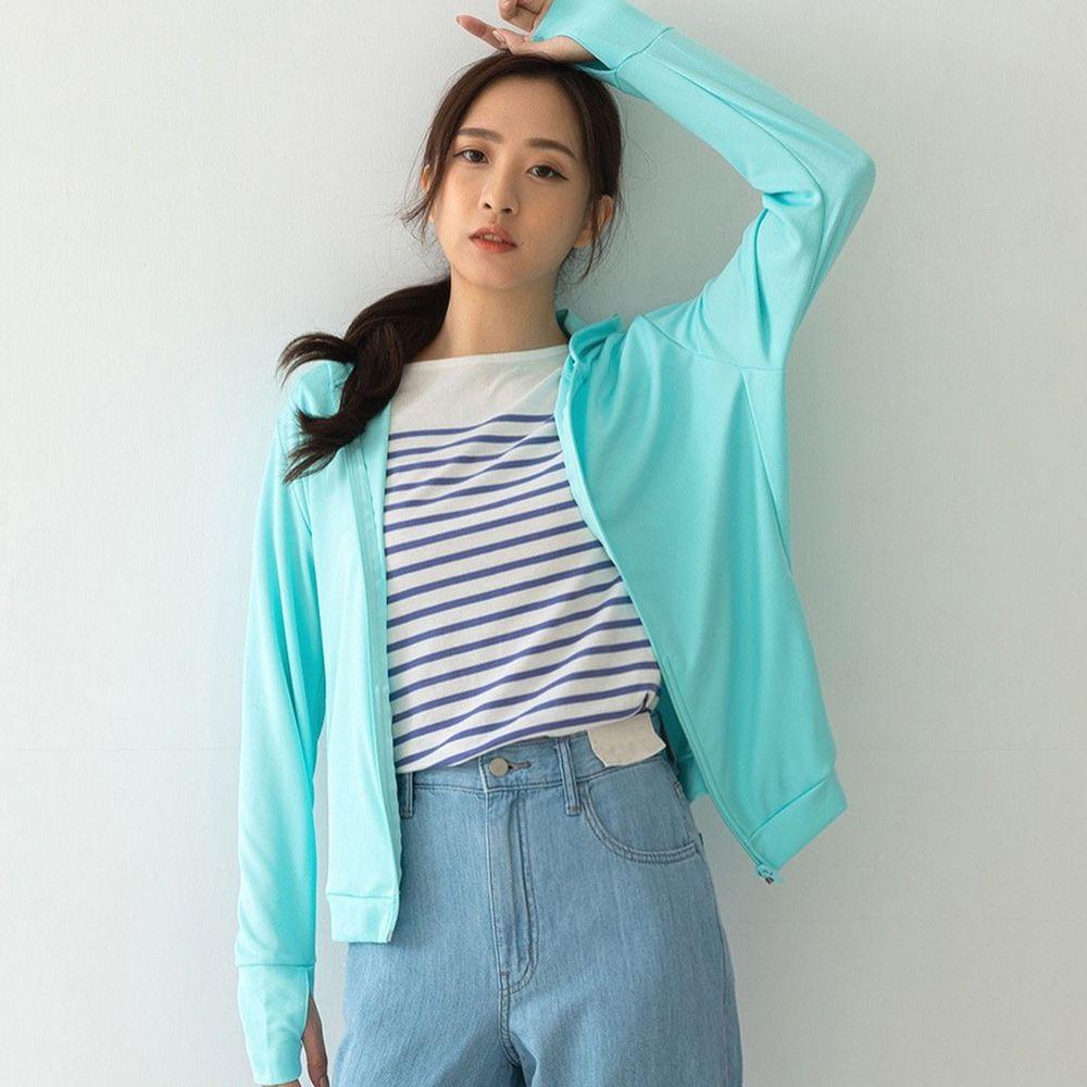 貝柔 Peilou - UPF50+高透氣防曬顯瘦外套-女連帽-湖綠色