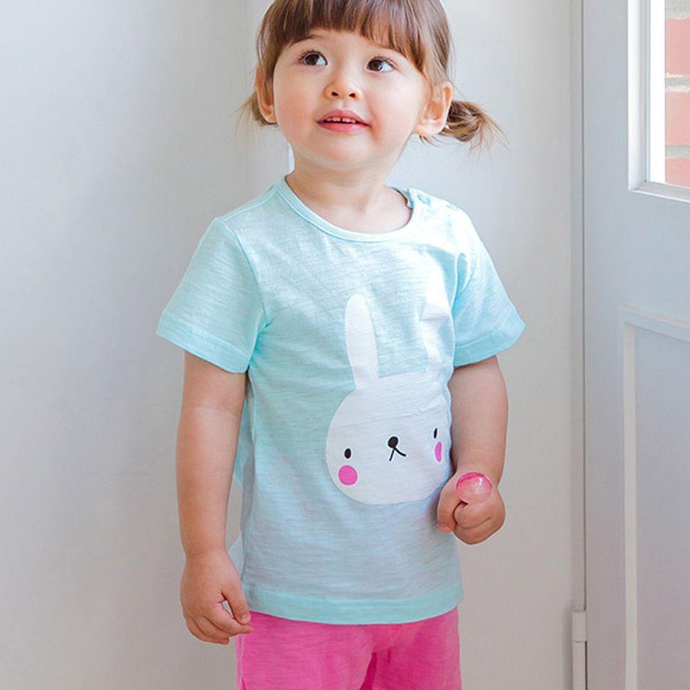 韓國 Cordi-i - 無螢光棉輕薄透氣短袖家居服-天藍小兔