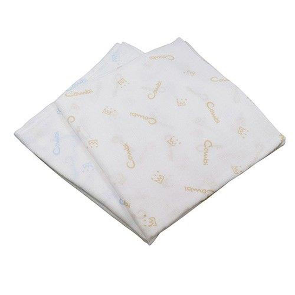 日本 Combi - 經典雙層紗布多用途浴包巾(2入)-藍+褐