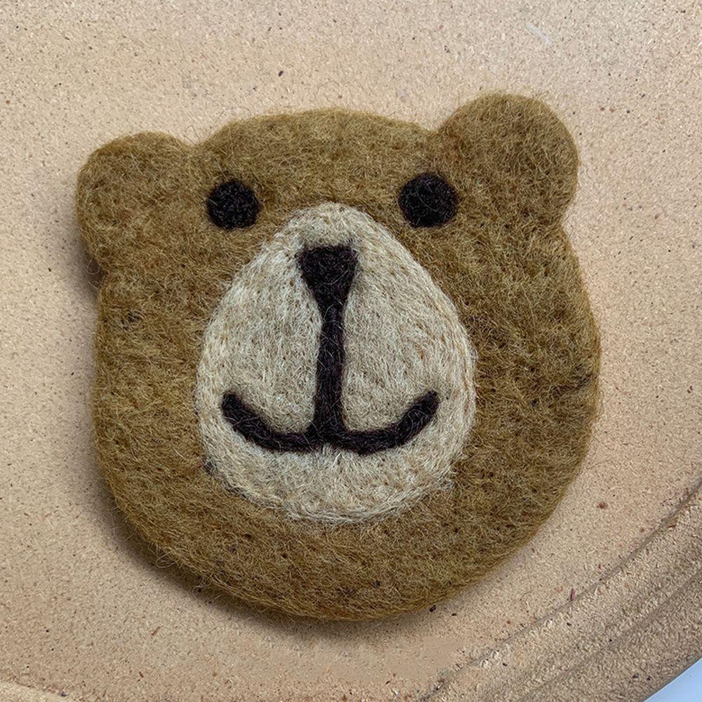 可愛動物造型羊毛氈杯墊-小棕熊