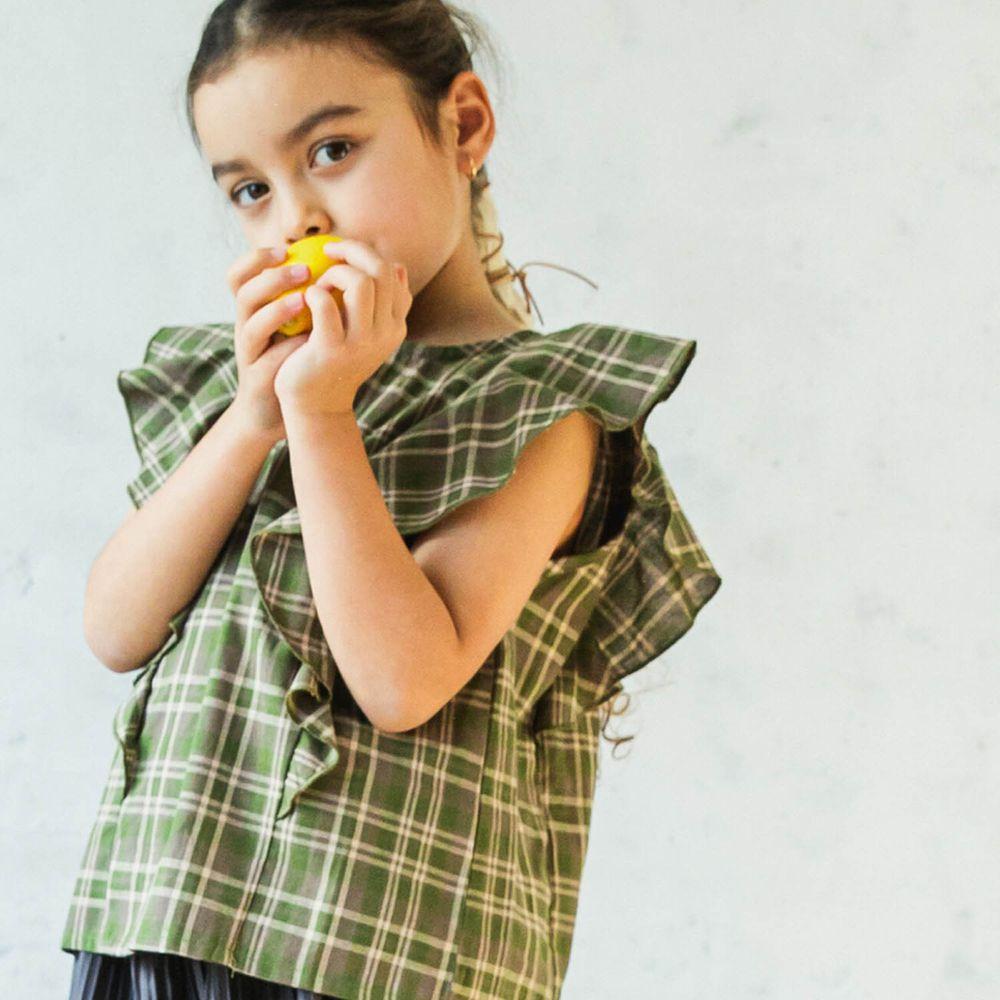 日本 PAIRMANON - 純棉華麗超大荷葉無袖上衣-格紋-綠