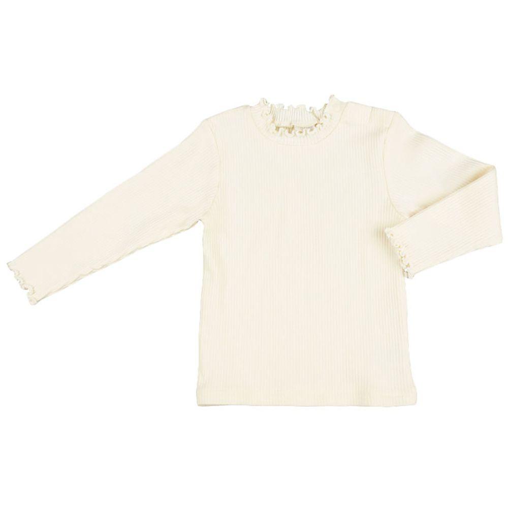 akachan honpo - 長袖T恤 小立領-象牙白色