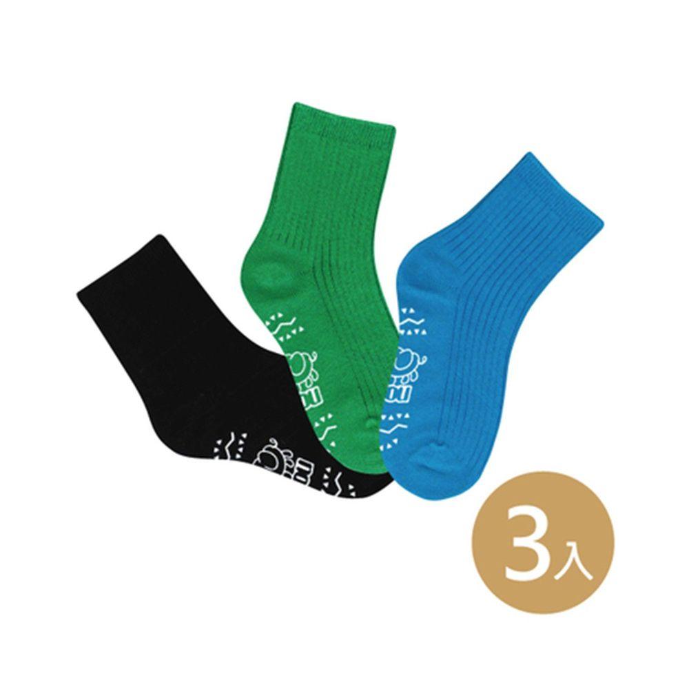 貝柔 Peilou - 貝寶萊卡義式對目柔棉止滑彩虹短襪-3色各1雙(藍/綠/黑)