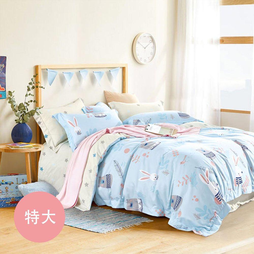 PureOne - 吸濕排汗天絲-守望-特大四件式床包鋪棉被套組