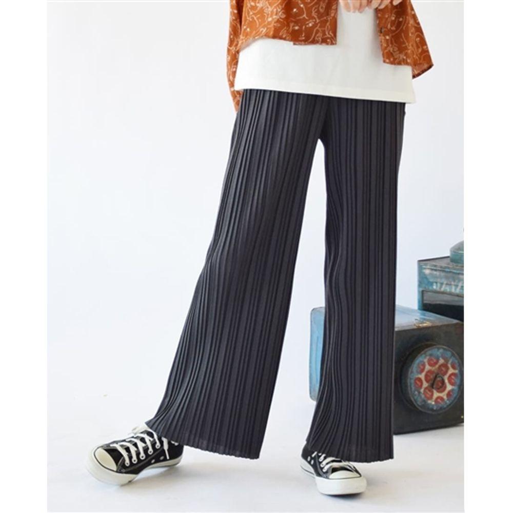 日本 zootie - 繽紛顯瘦百褶風琴寬褲-深灰 (M)