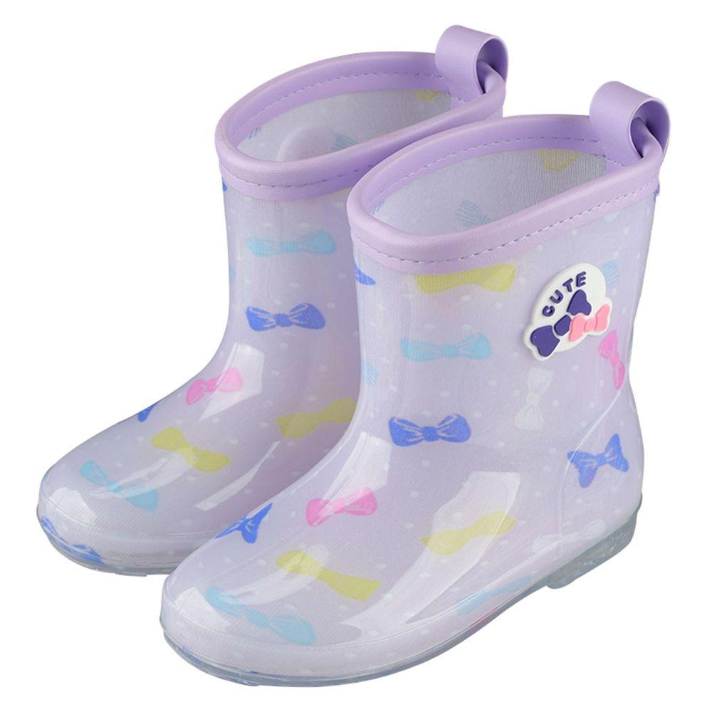 akachan honpo - 雨鞋 左右腳易分辨-蝴蝶結-紫色