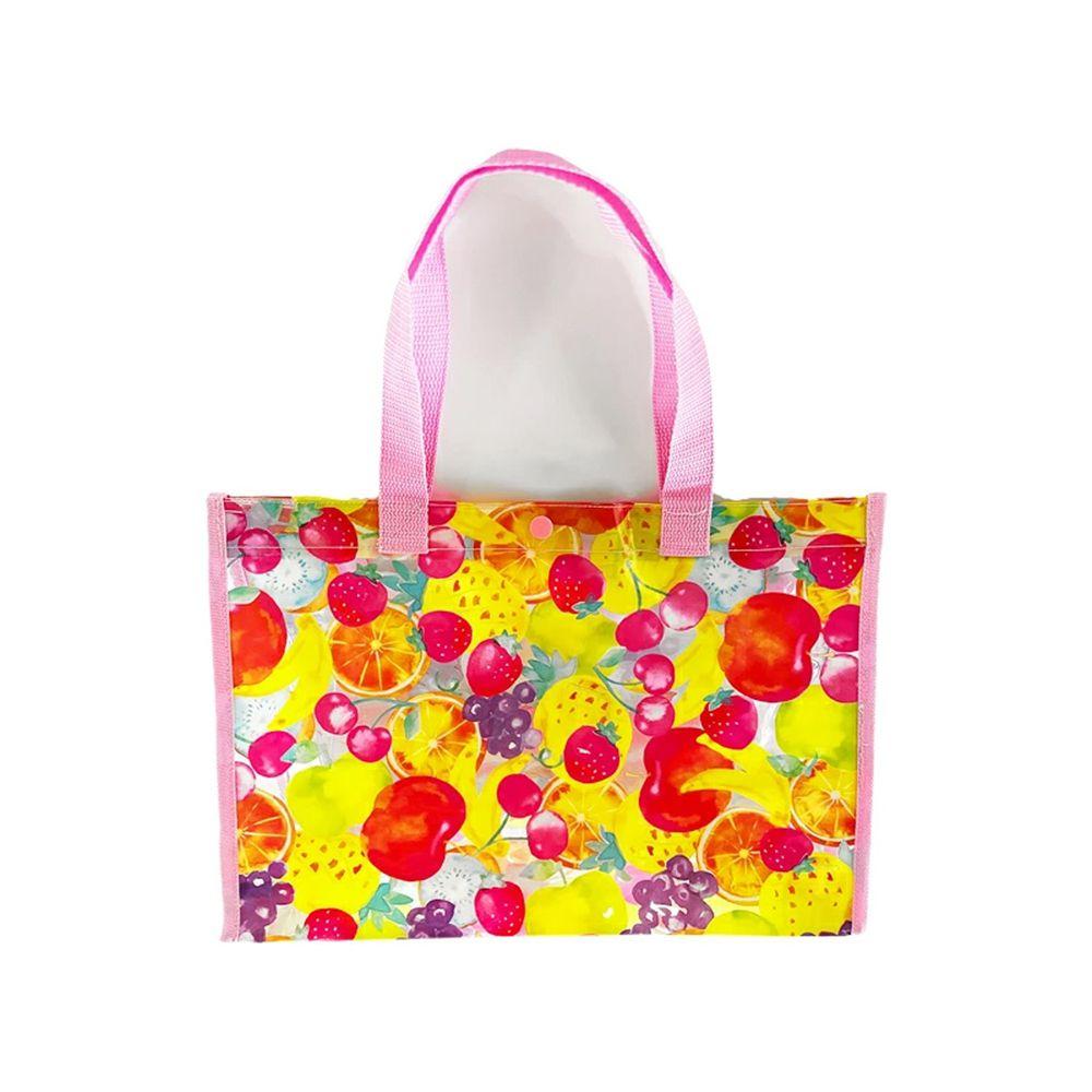 日本服飾代購 - 防水PVC游泳包(雙面圖案設計)-草莓橘子葡萄-粉紅 (25x36x13cm)