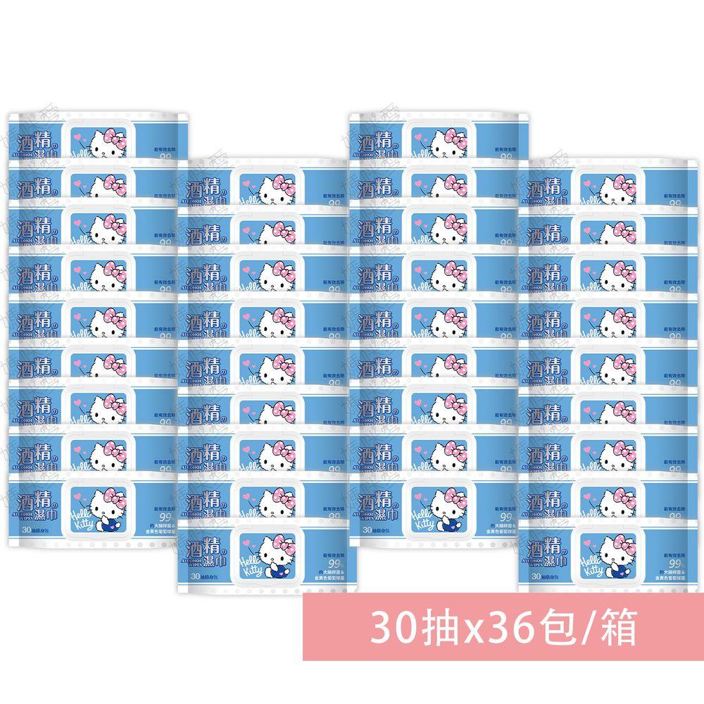 HELLO KITTY - Hello Kitty酒精柔濕巾(加蓋)-30抽(箱購)-36包/箱