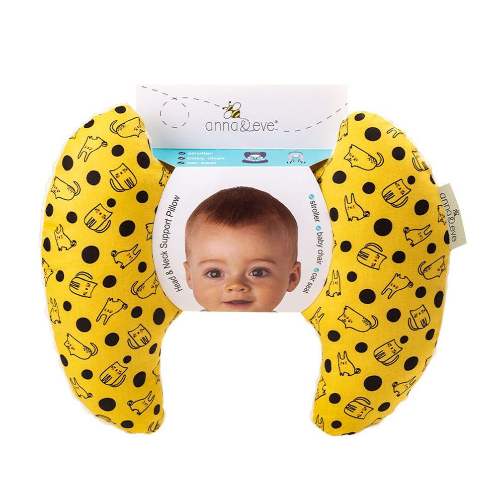 Anna&Eve - 美國嬰幼兒頭頸支撐保護枕-黃色兔子躲貓貓