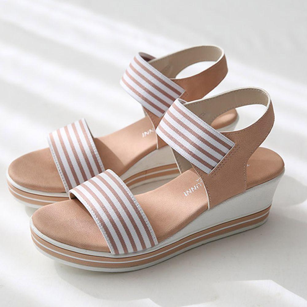 韓國 Dangolunni - 條紋伸縮帶後增高涼鞋(5.5cm高)-粉紅