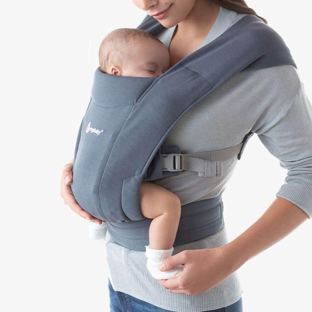 美國ERGObaby - Embrace環抱二式初生嬰兒背帶-牛津藍