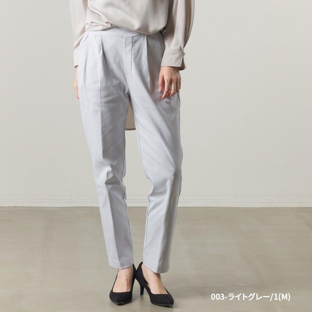 日本女裝代購 - 裏起毛打褶彈性美腿褲-淺灰