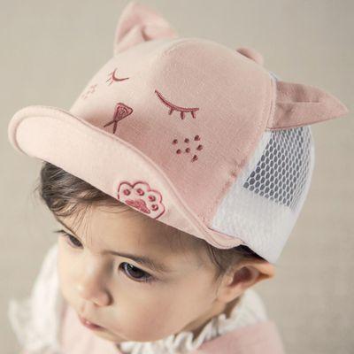 閉眼小貓棒球帽-粉紅