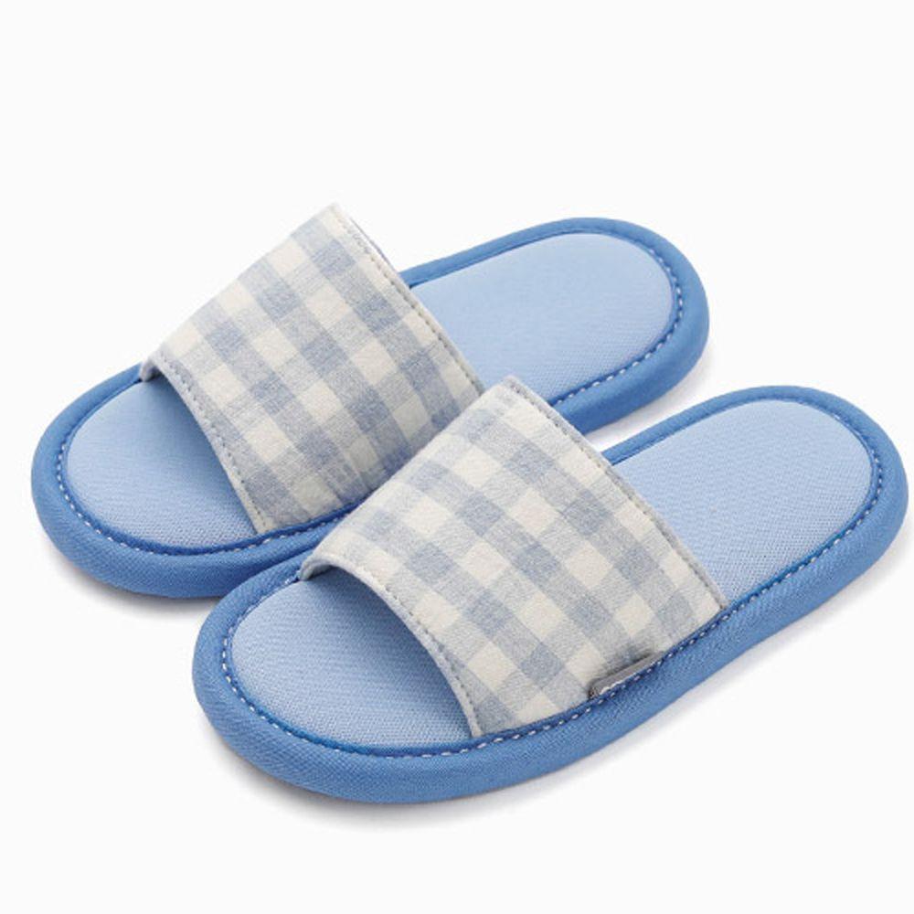 韓國 OZKIZ - 消音防滑室內鞋-拖鞋款(格子)-天藍
