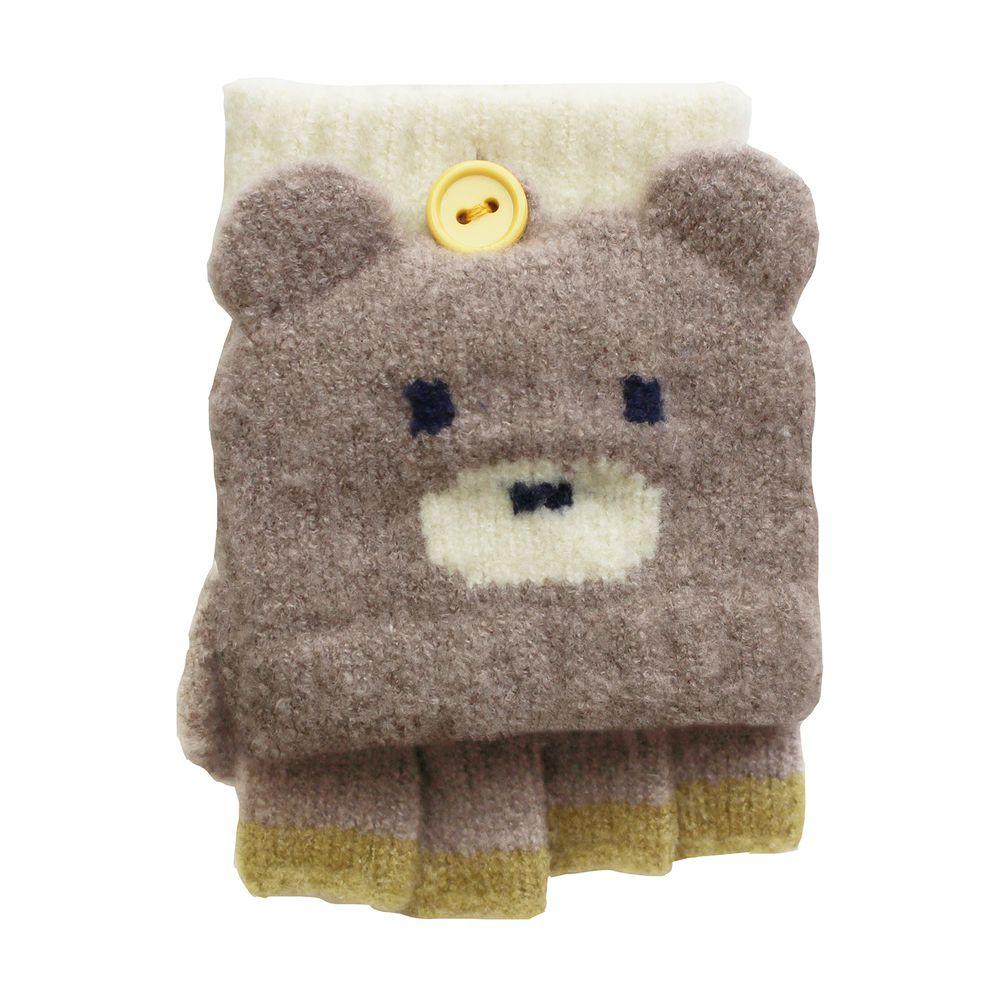 日本 BISQUE - 日本製質感動物造型2way小孩手套-小熊-淺灰 (3-6y)