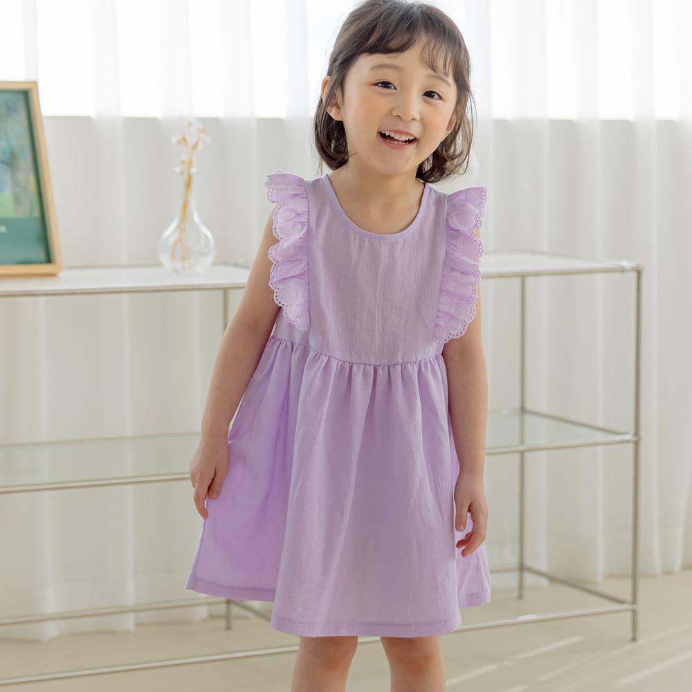 韓國 Orange Mom - 荷葉裝飾單色洋裝-紫