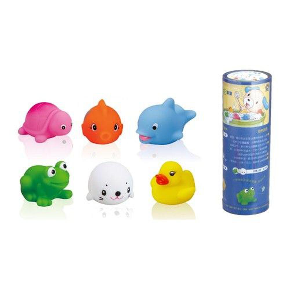 小牛津 - 寶寶洗澎澎玩具-內含可愛動物系列共6款-鯨魚、烏龜、小鴨、金魚、青蛙、海豹