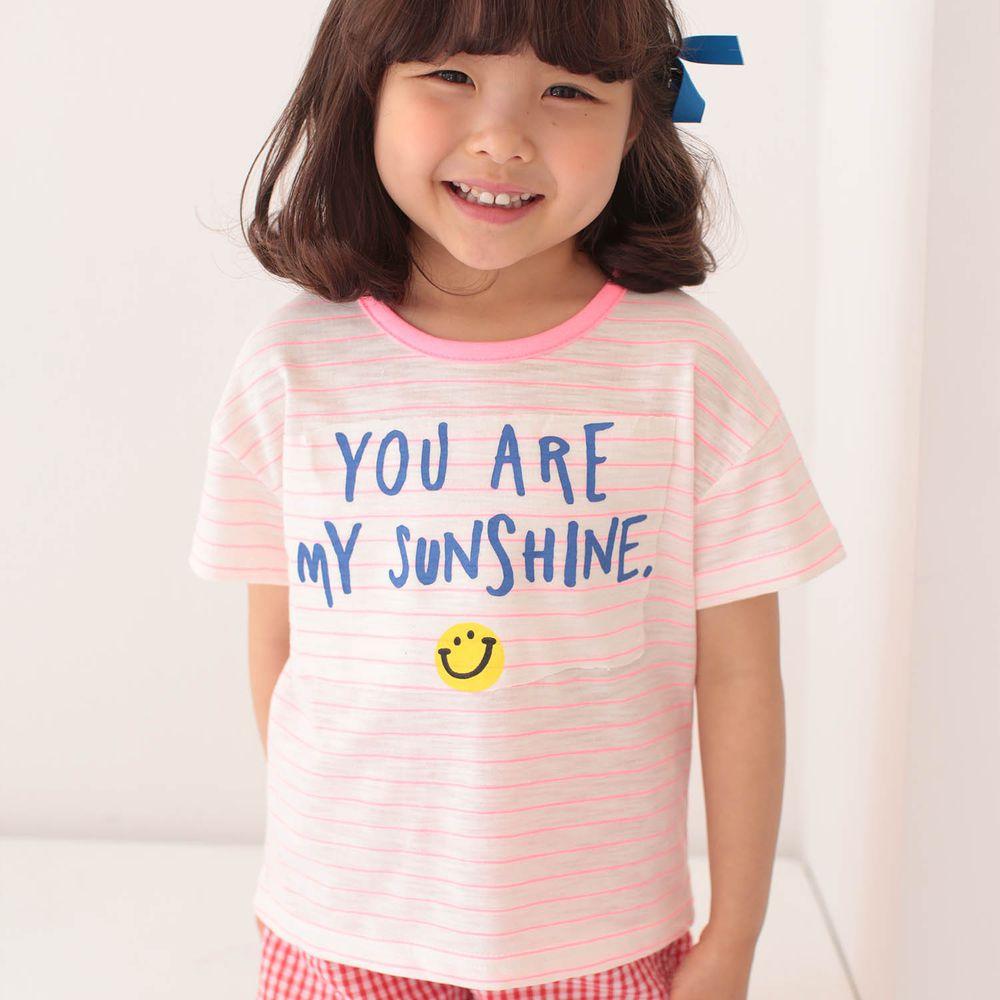 韓國 Dalla - 笑臉條紋T-粉紅