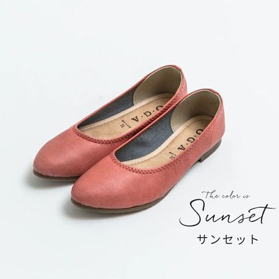 日本製 仿皮尖頭柔軟休閒平底包鞋