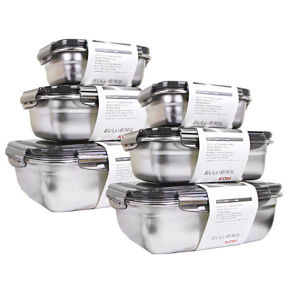KOM - 304不鏽鋼日式萬用保鮮盒組-超值2入組-長方三件組-冰酷黑-(350ml+850ml+1800ml)各*2