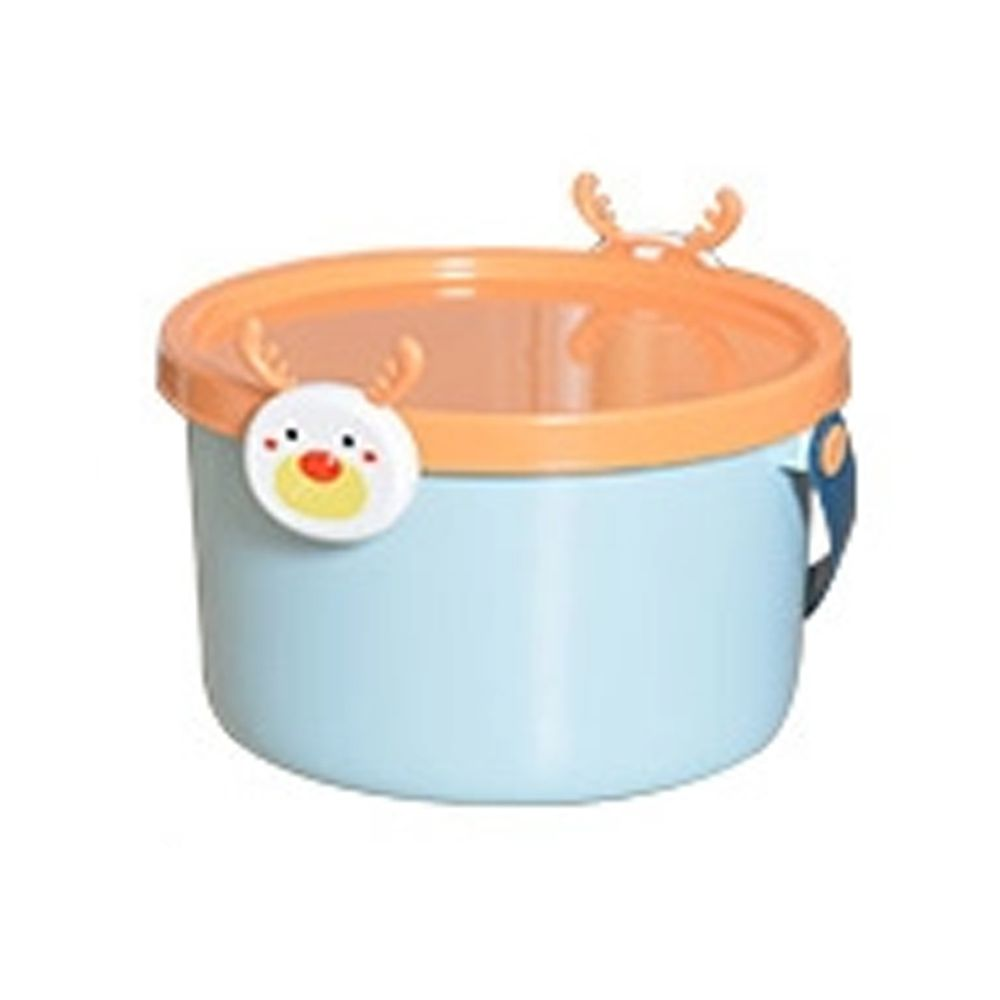 家窩 - 動物造型卡扣戲水/玩具收納桶附蓋-小-3入-麋鹿