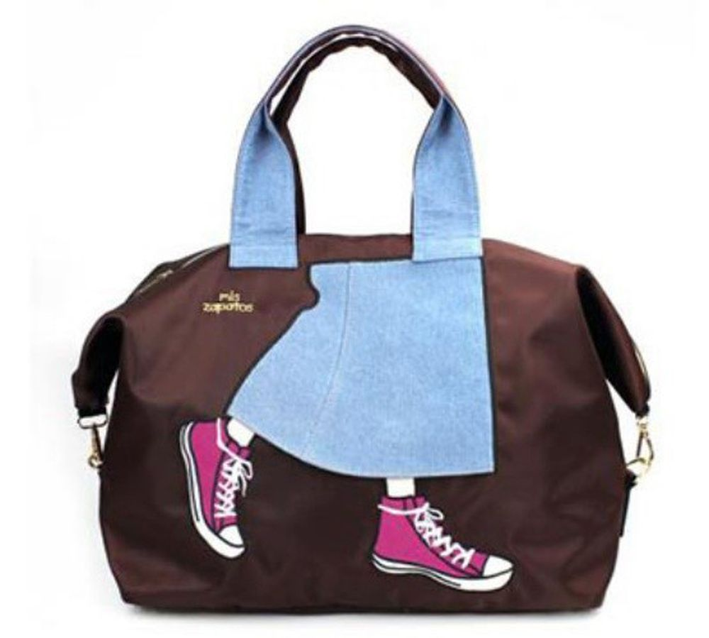 mis zapatos - 旅行款美腿包(尼龍)-牛仔裙-BR咖啡色 (36*41*20cm)
