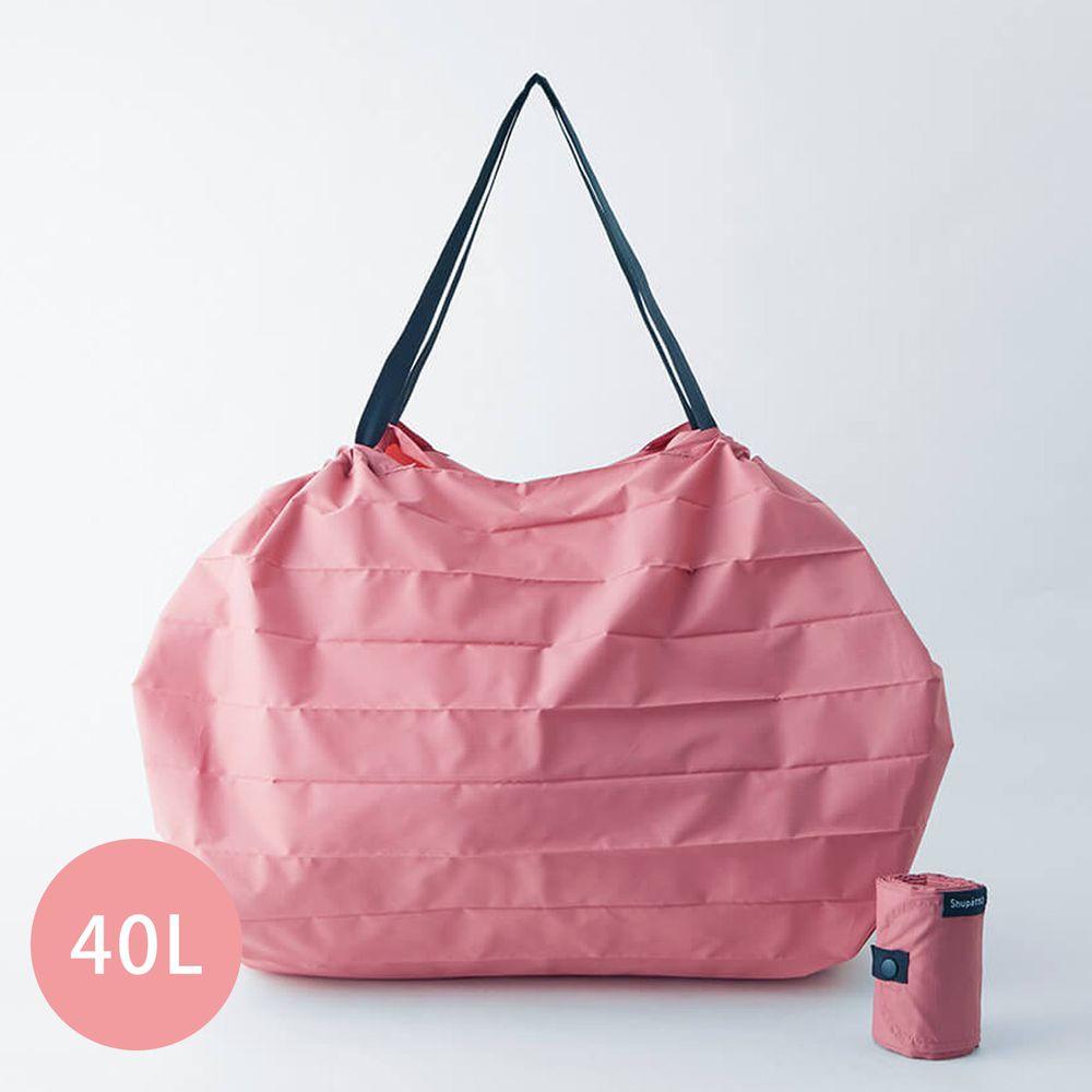 日本 MARNA - Shupatto 秒收摺疊購物袋(可掛購物籃)-五週年限定升級款-蜜桃粉 (L(50x38cm))-耐重15kg / 40L