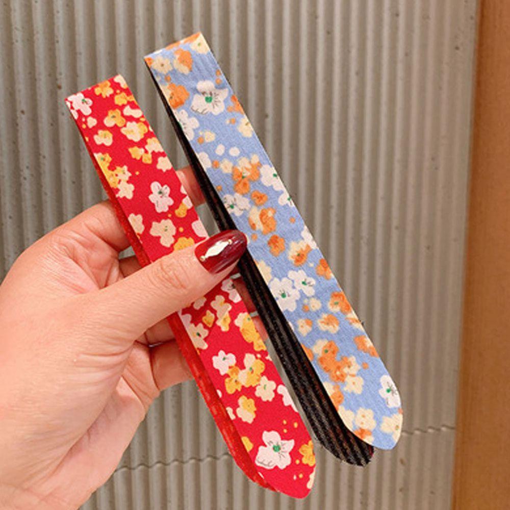 小清新魔術貼無痕髮箍-紅色碎花+藍色碎花 (一組2入)