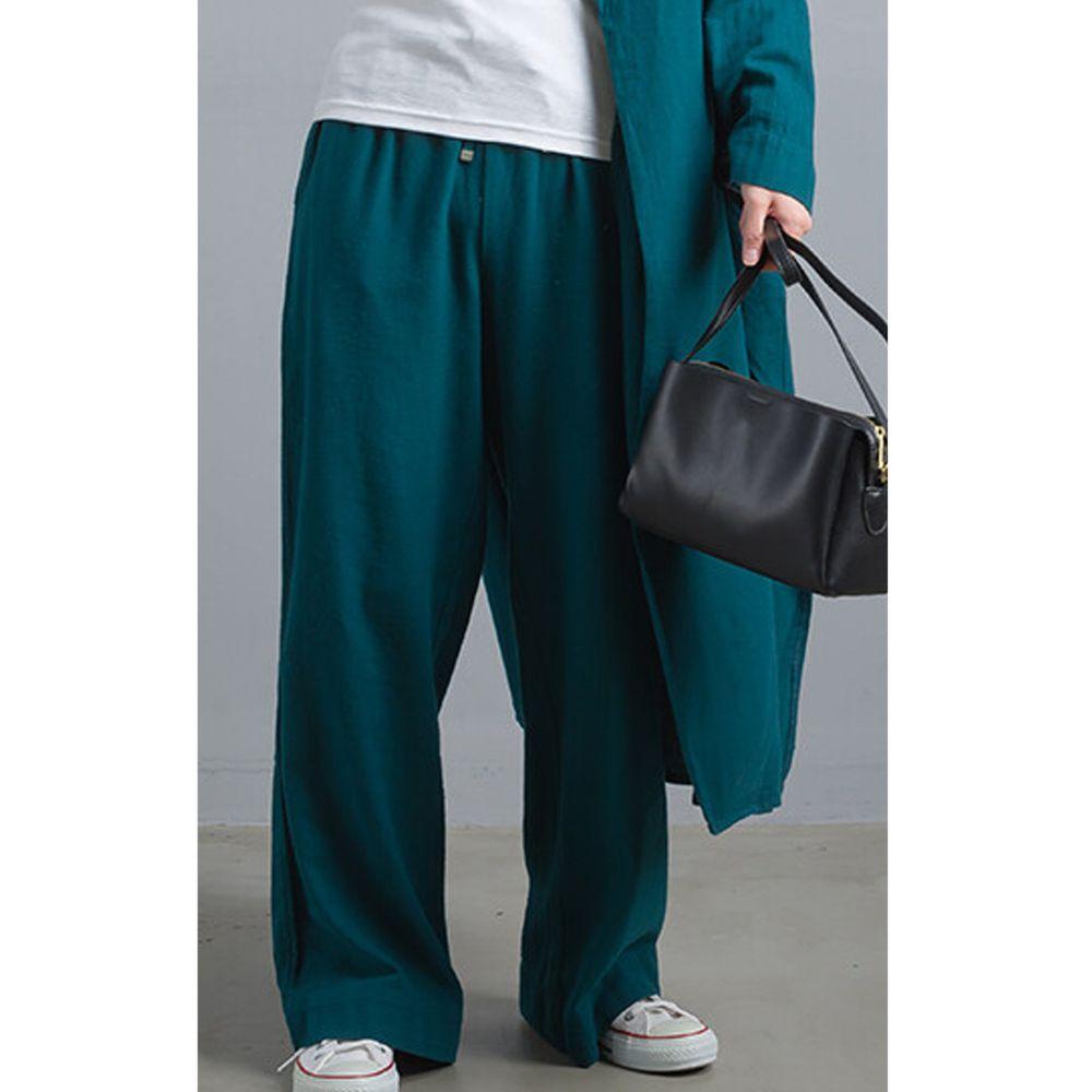 日本女裝代購 - 棉麻綁帶垂墜感舒適寬褲-藍綠