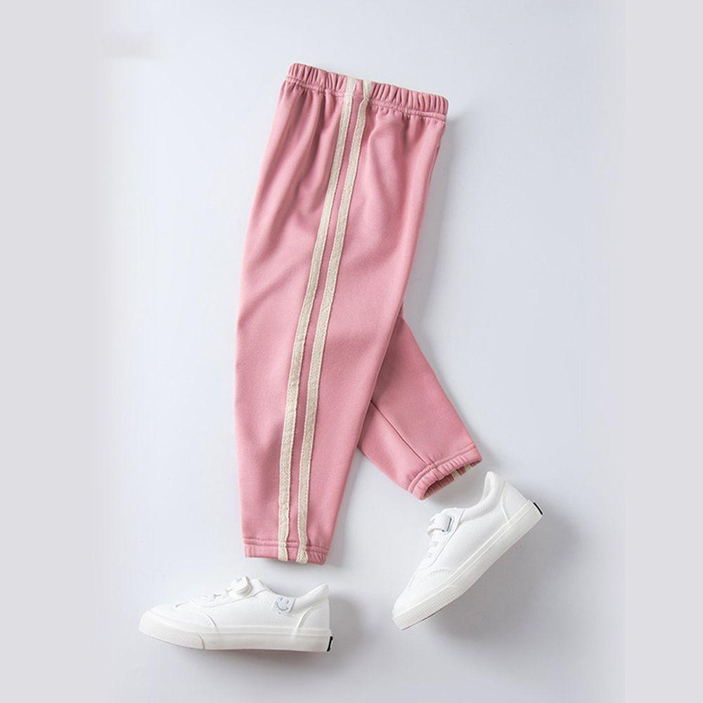 溫暖加絨運動束口褲-櫻花粉