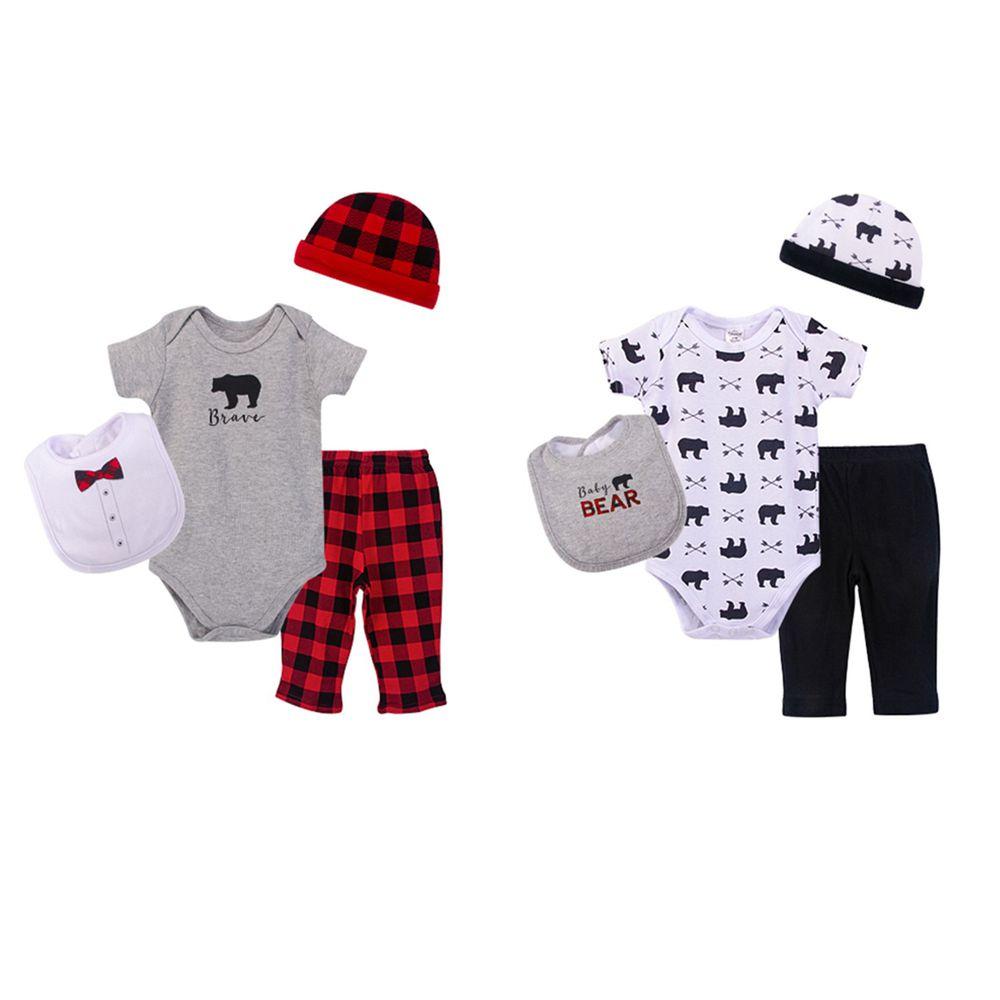 美國 Luvable Friends - 嬰幼兒包屁衣與長褲最佳送禮8入禮盒組-紅色棕熊 (0-6M)
