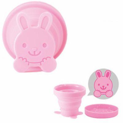 攜帶用折疊冷水專用水杯-兔子-粉-95ml
