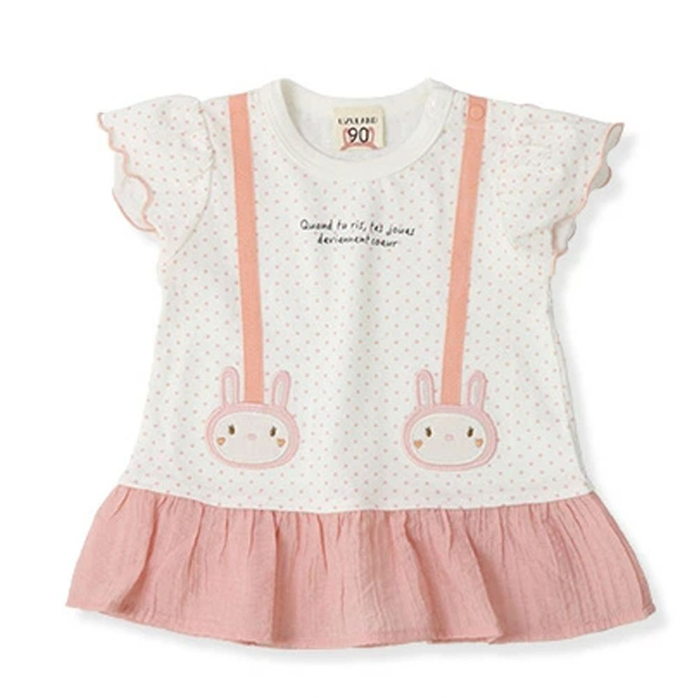 日本 ZOOLAND - 拼接短T-小兔吊帶荷葉裙-粉