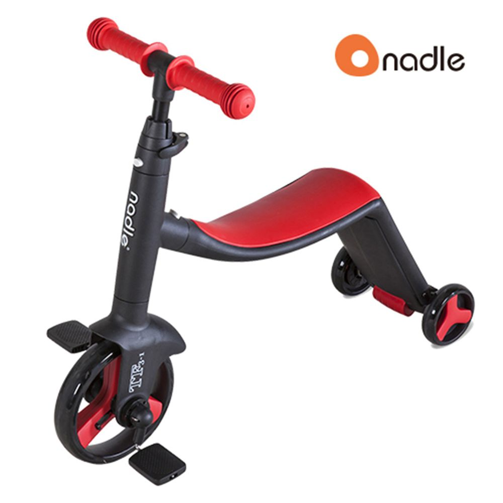 奧地利Nadle - 三合一多功能三輪滑步/滑板車-紅色