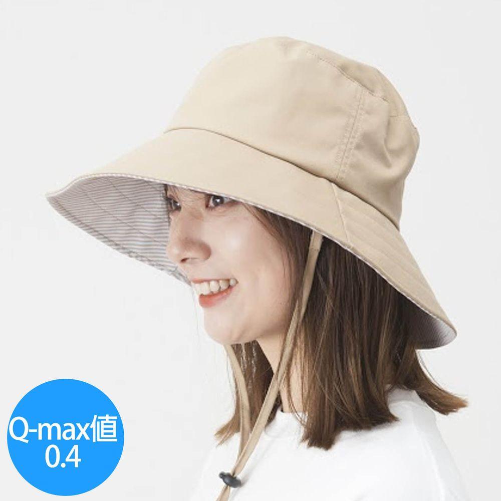 日本小泉 - UV cut 99% 涼感 大帽簷遮陽帽-撥水加工 素面-氣質杏 (可調頭圍~58cm)