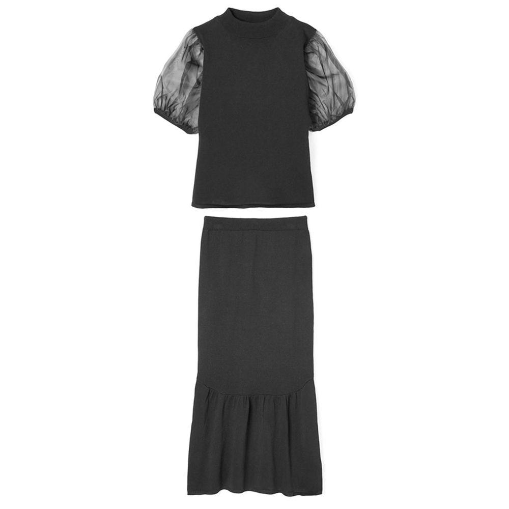 日本 GRL - 薄紗澎袖上衣+小魚尾修身長裙套裝-時尚黑