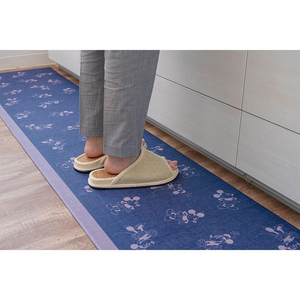 日本千趣會 - 迪士尼 長條型腳踏墊(廚房/臥室)-丹寧米奇米妮