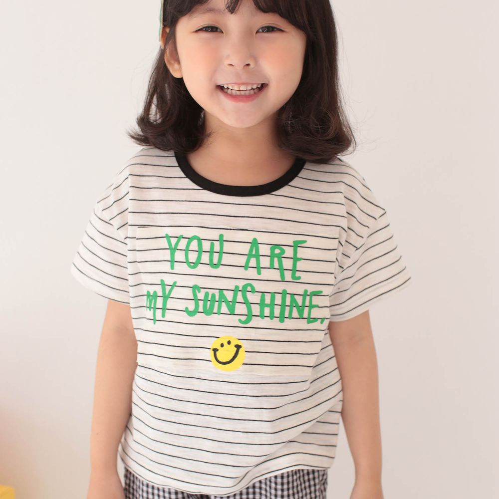 韓國 Dalla - 笑臉條紋T-黑