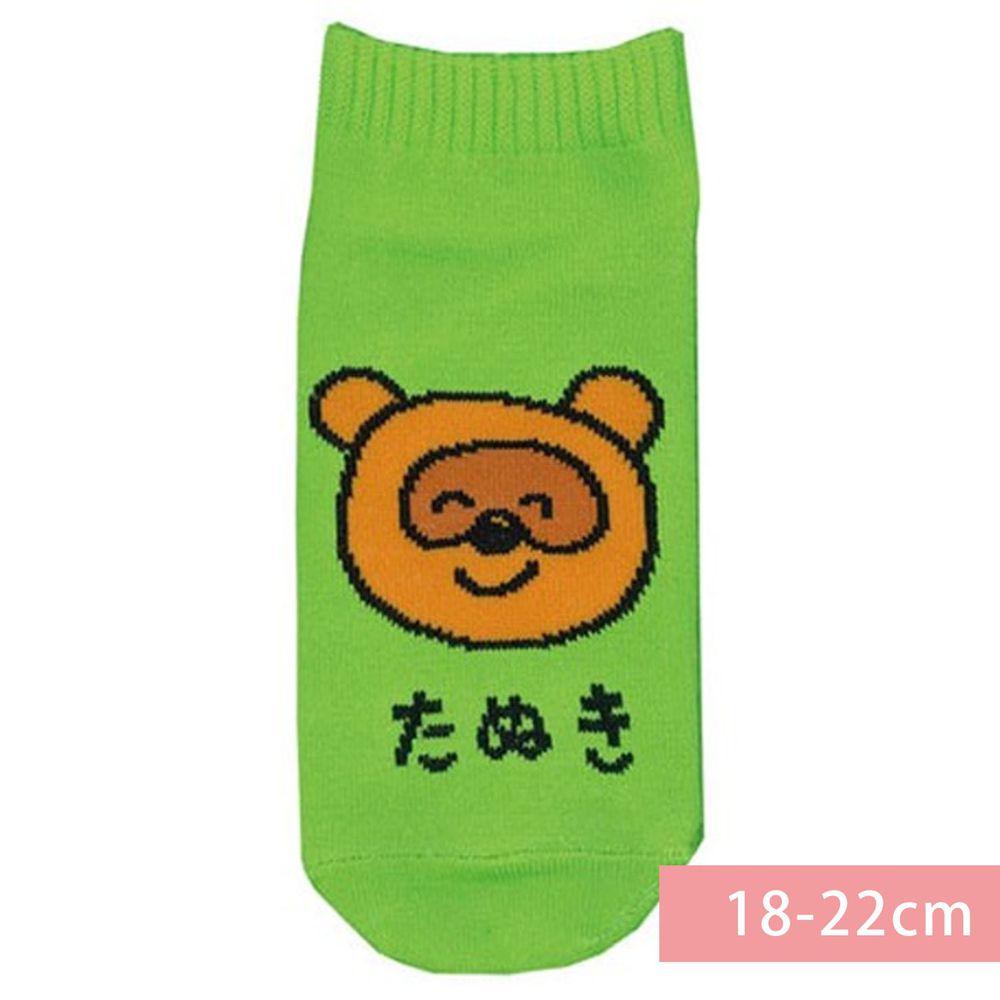 日本 OKUTANI - 童趣日文插畫短襪-狸貓-綠 (18-22cm)