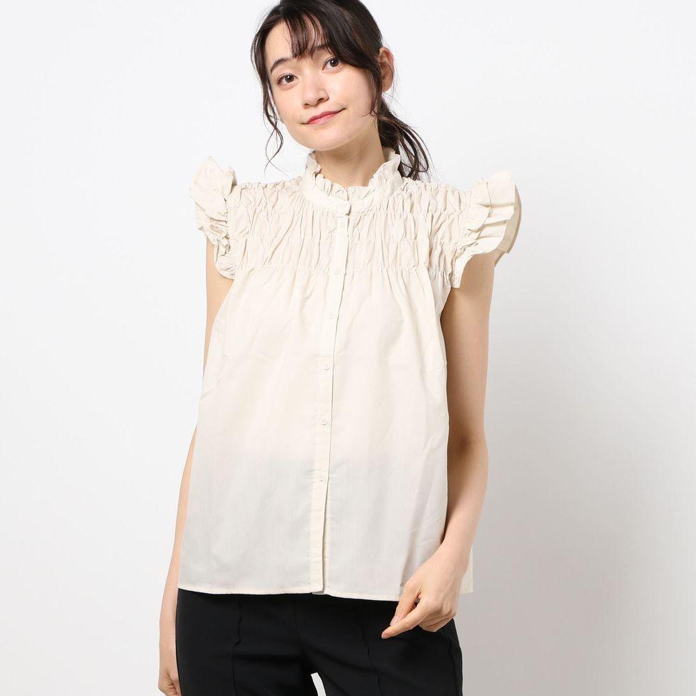 日本 Riche Glamour - 優雅抓皺飛飛袖無袖襯衫-米