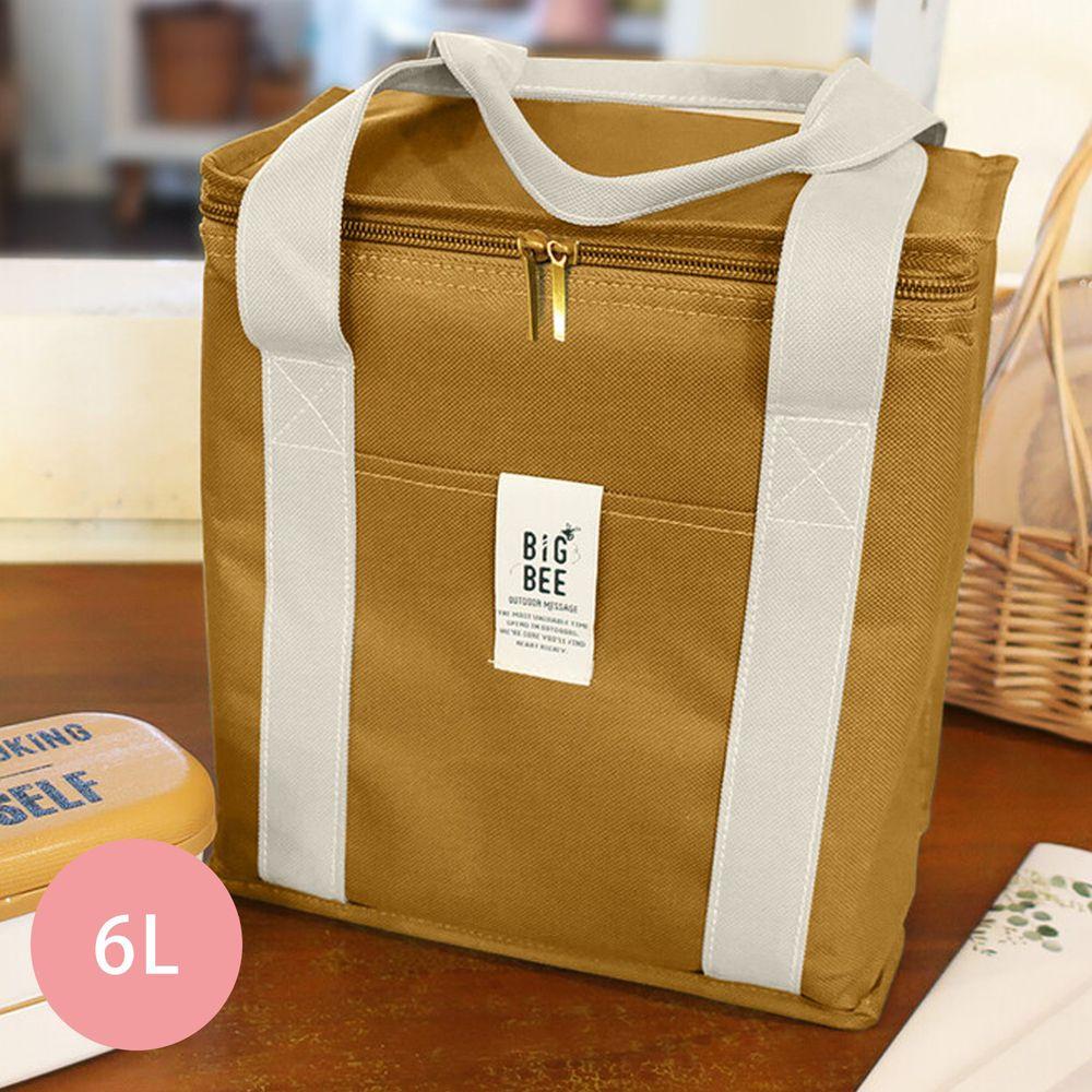 日本 Big Bee - 保冷便當袋/方形購物袋-芥末-6L