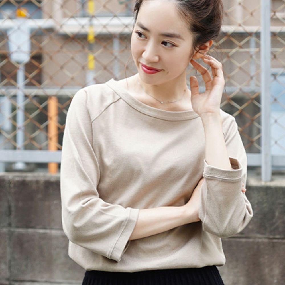 日本 zootie - [撥水/撥油加工] 抗油污耐洗純棉七分袖上衣-杏