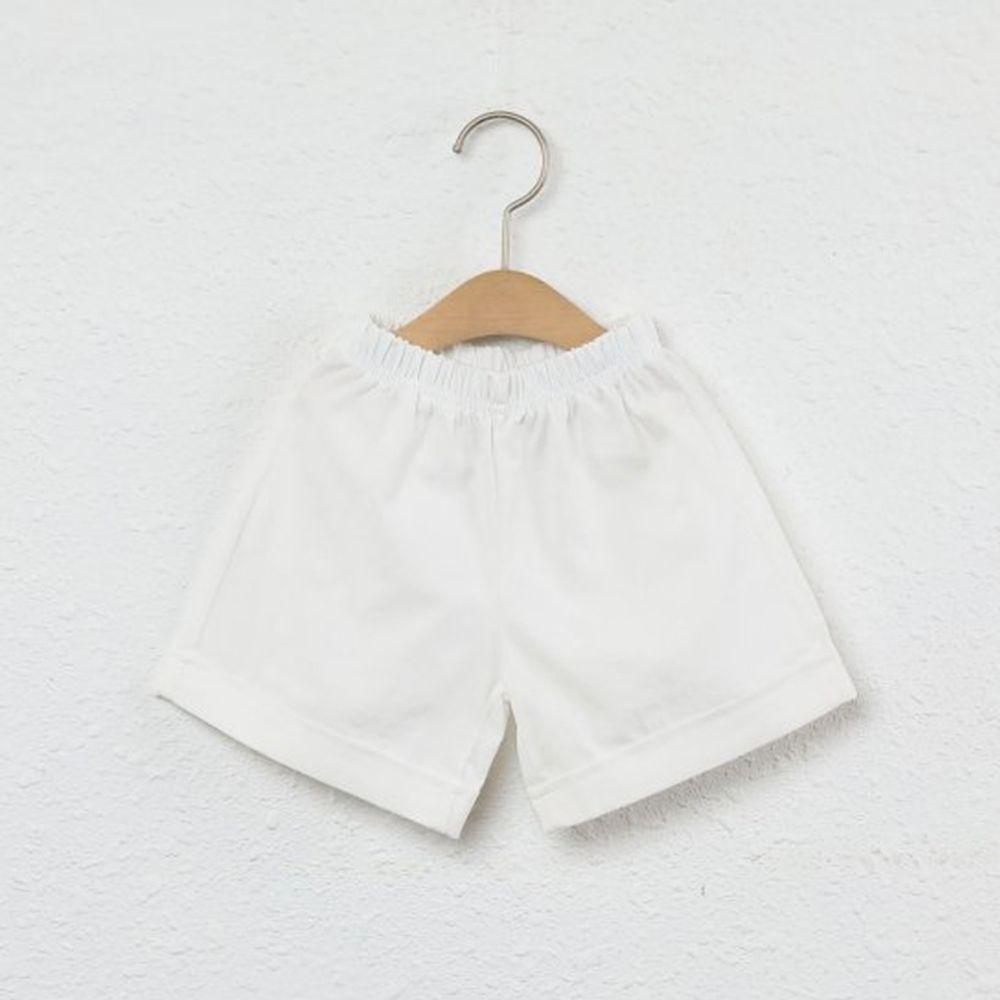 韓國製 - 水洗加工布鬆緊褲頭短褲-白