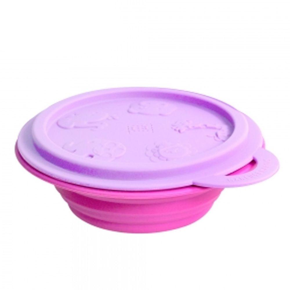 MARCUS&MARCUS - 動物樂園矽膠摺疊碗-紫鯨魚